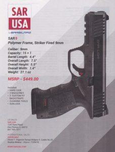 SAR 9 Striker Fired 9mm