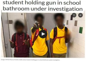 Gun Displayed in School Bathroom Image Appears to be Loaded S&W Revolver