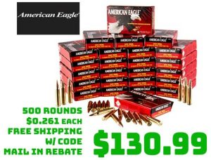 Ammo Deals: 500pc American Eagle Ammo 223 Remington 55Gr FMJ-BT $130.99 FREE S&H MIR
